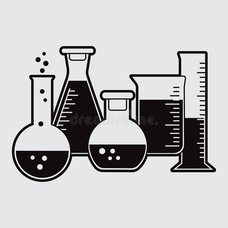 Black set of chemical flask with liquid. Vector. Illustration royalty free illustration