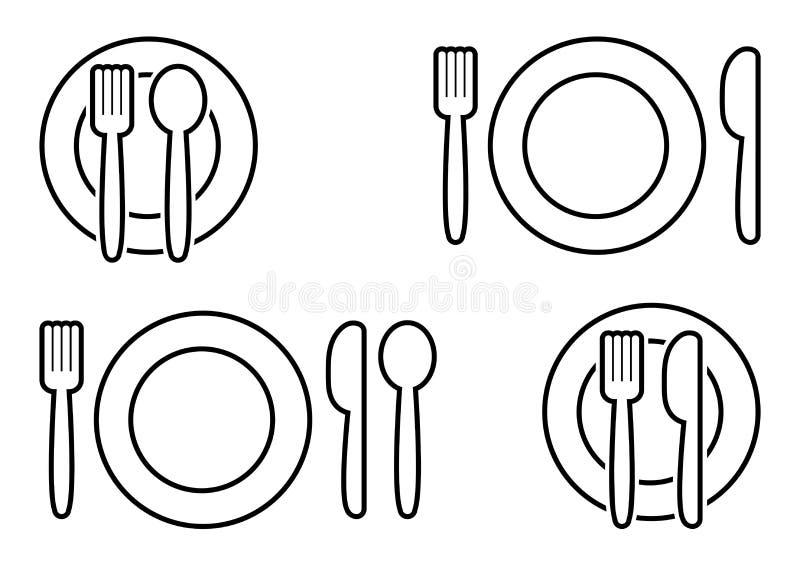 Black set of cutlery. Fork, spoon, knife and plate. Vector. Black set of cutlery. Fork, spoon, knife and plate, outline design. Vector illustration royalty free illustration