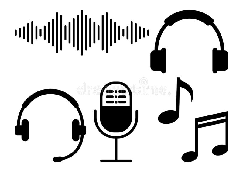 Set of sound equipment. Vector illustration royalty free illustration