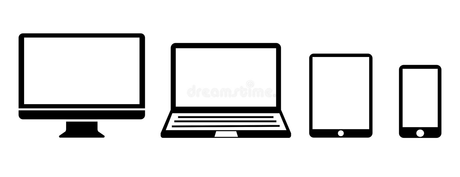 Black set technology devices icon - vector vector illustration