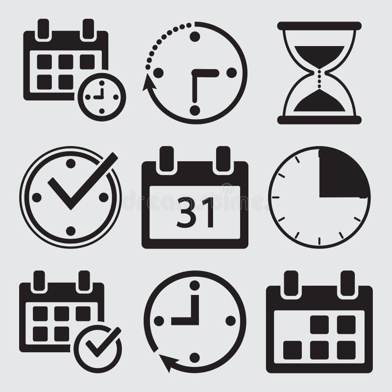 Black set of time management icons. Vector. Illustration royalty free illustration
