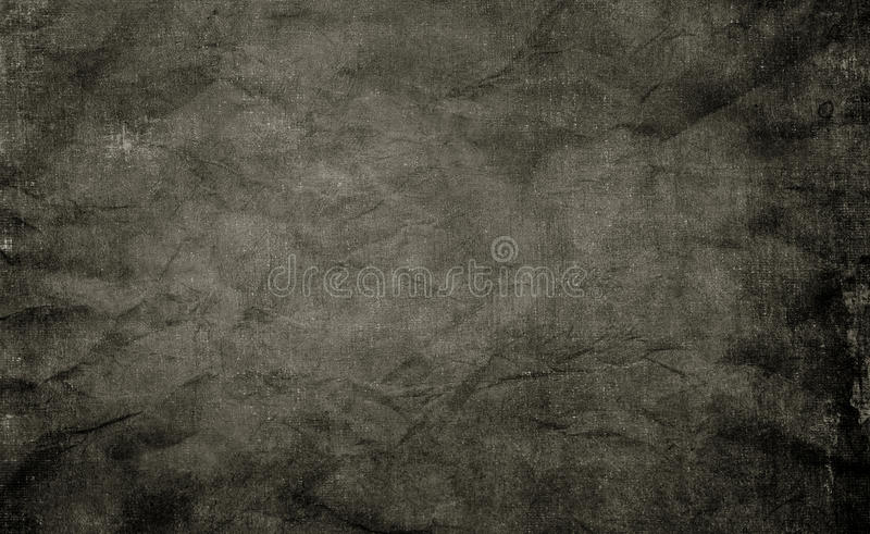 Black shabby paper texture. Old crumpled and shabby paper background for the design stock images