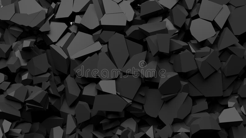 Black shattered pieces of stone. Abstract background royalty free illustration