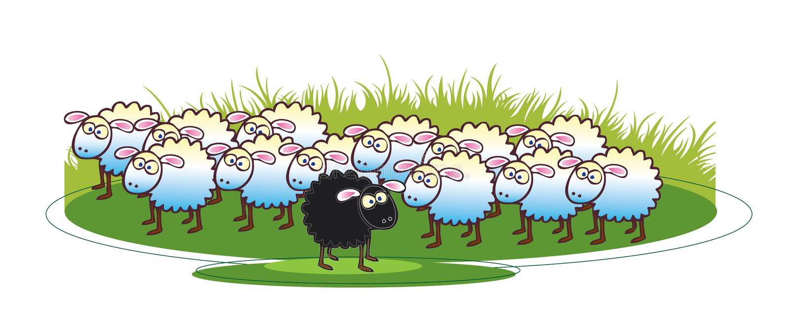 Black Sheep. A cartoon illustration of a flock of white coated sheep with a single black sheep to the foreground. all set on a green grass base vector illustration