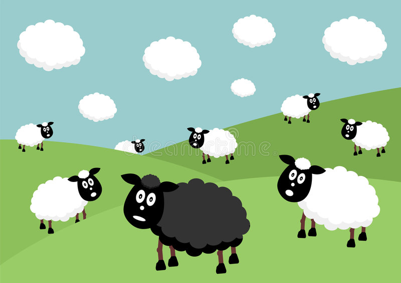 Black sheep. Flock of sheep with the black sheep of the family vector illustration