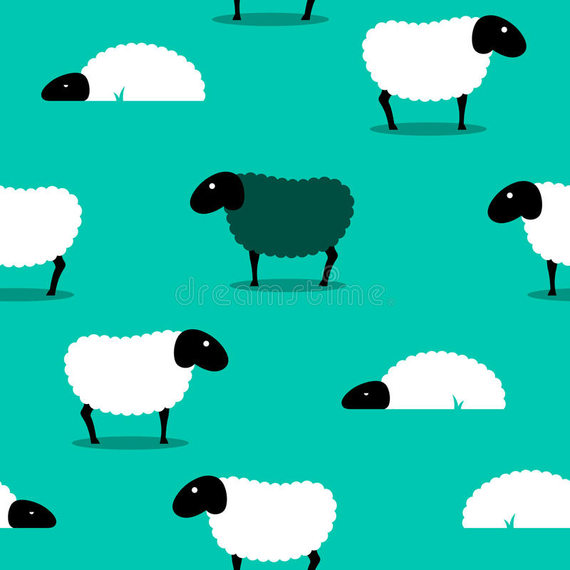 Black sheep amongst white sheep tile background vector illustration