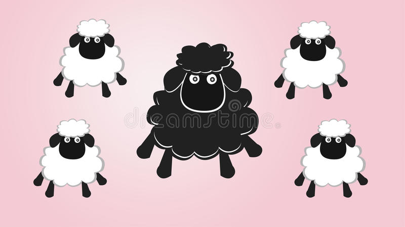 Black sheep in the family royalty free illustration