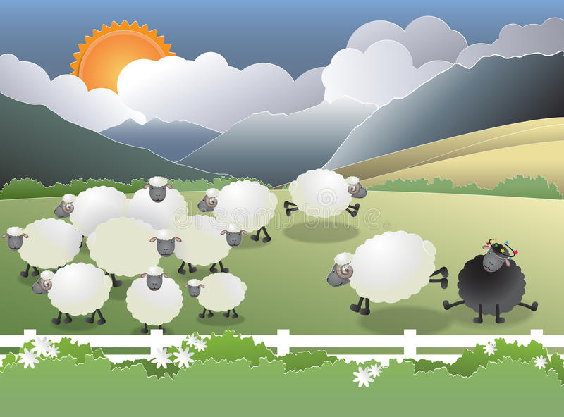 Black sheep in field. Flock of sheep on green field, a black sheep in the family, paper cutting style, vector illustration vector illustration