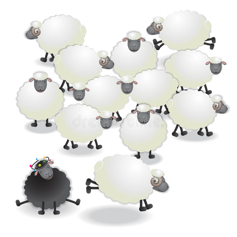 A black sheep. Flock of sheep, black sheep in the family, paper cutting style, vector illustration stock illustration