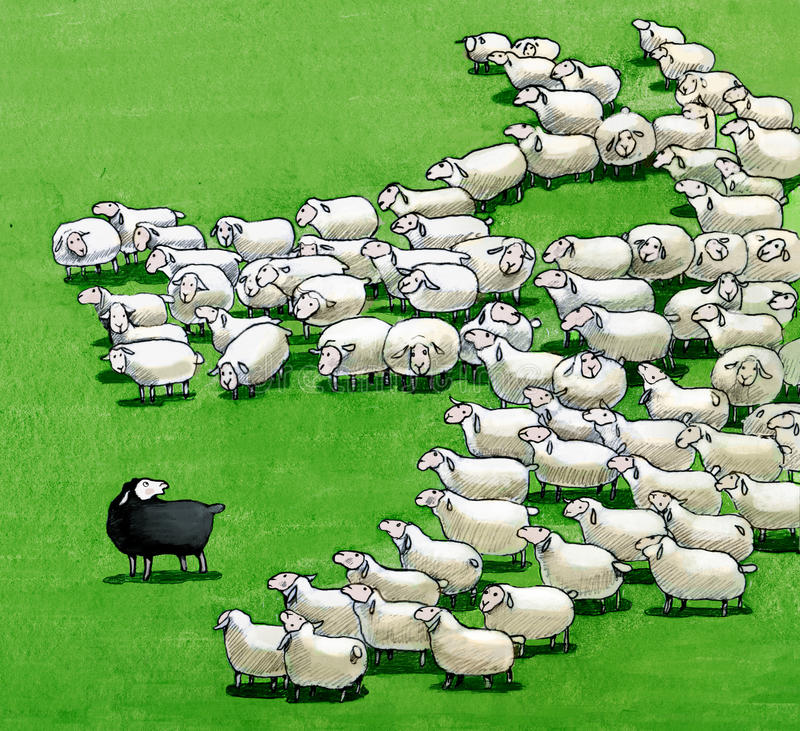 Black sheep in the flock. A flock that seen from above form a wolf who wants to eat the black sheep royalty free illustration