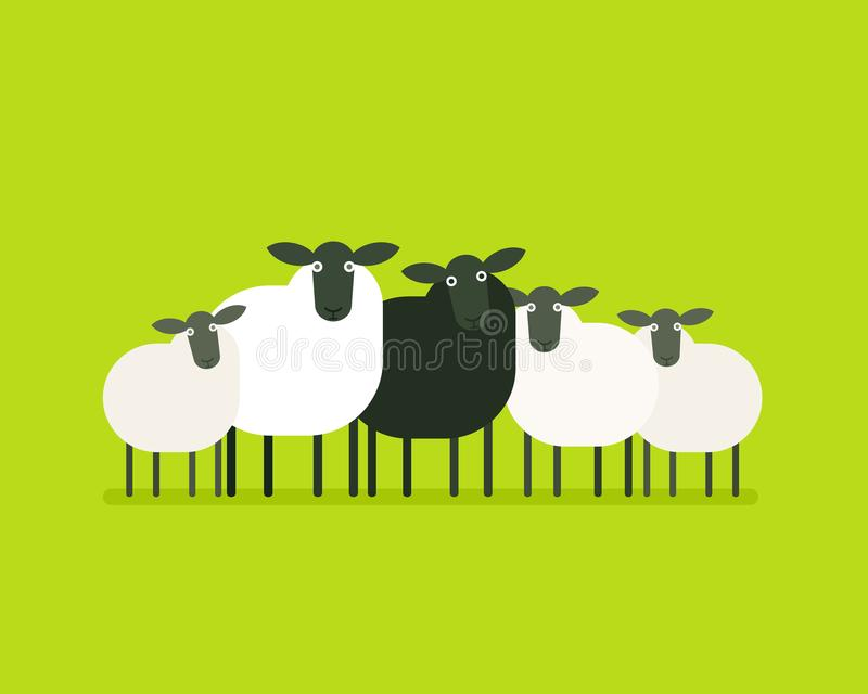 Black sheep in the herd stock illustration