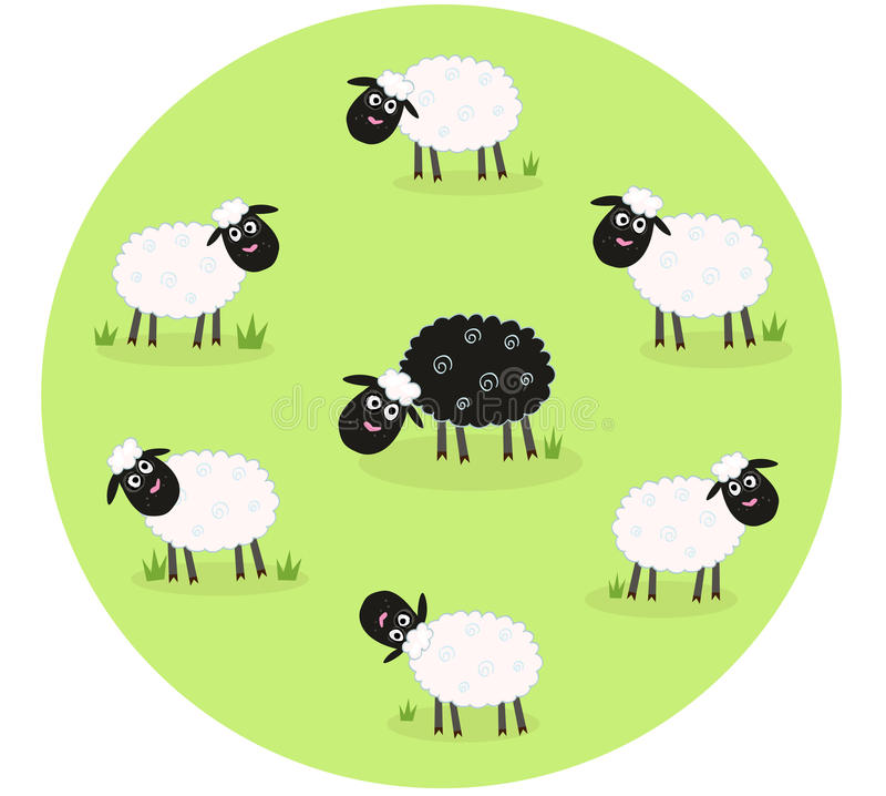 Free Black Sheep Is Lonely In The Middle Of White Sheep Stock Images - 14408464