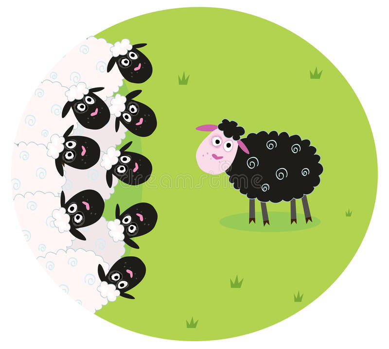 Black sheep is lonely in the middle of white sheep vector illustration