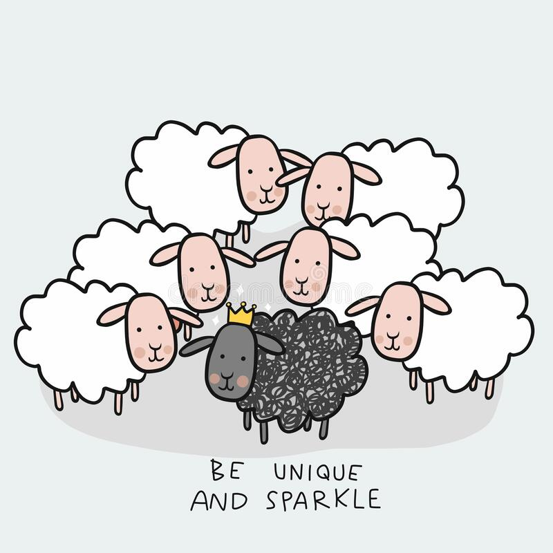 Black sheep in white sheep group, Be unique and sparkle cartoon doodle royalty free illustration
