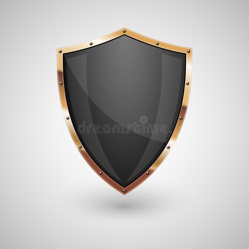 Black shield with gold border vector illustration