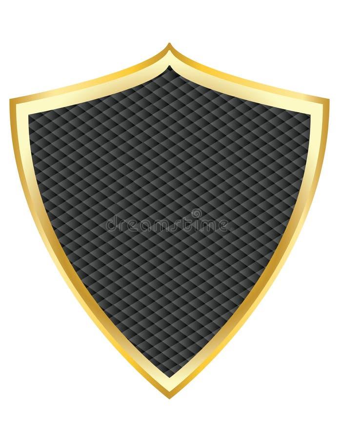 Black shield with gold border vector stock illustration