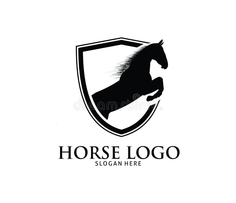 Detailed Vintage Golf Logo Template: Horse Shield Icon Vector Logo Stock Vector