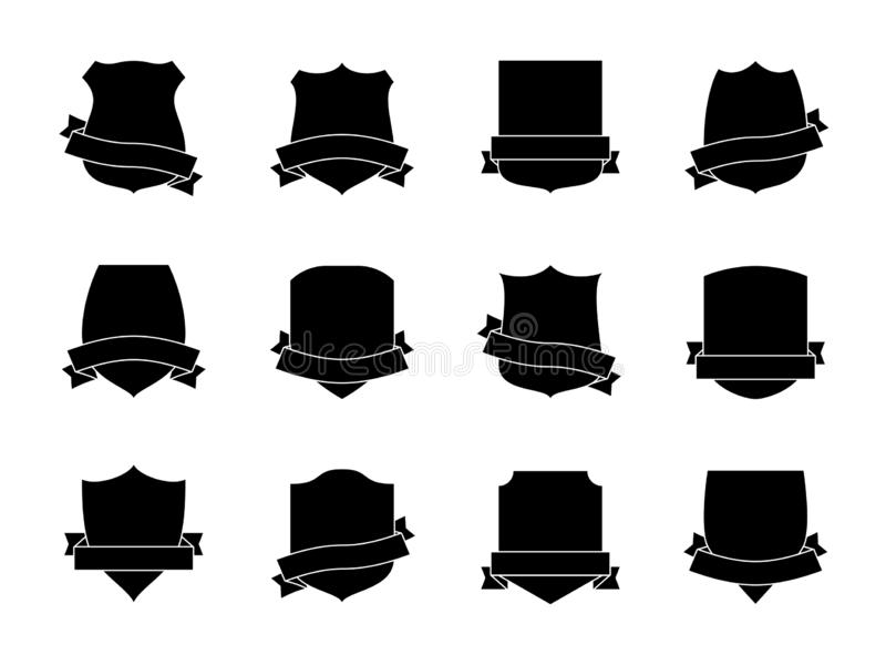 Black shield labels with ribbons. Heraldic royal blazon badges. Medieval insignia shields, pennants. Security signs stock illustration