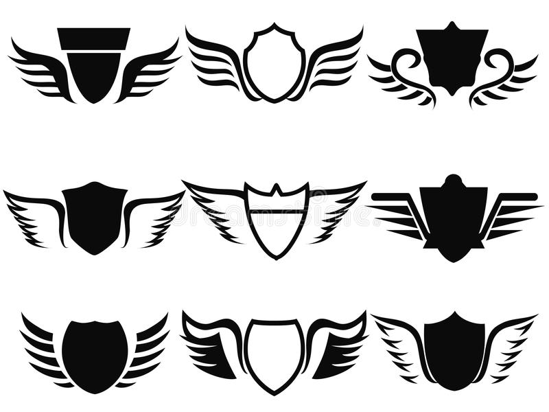 Black shield wings icon. Isolated black shield wings icon on white background stock illustration