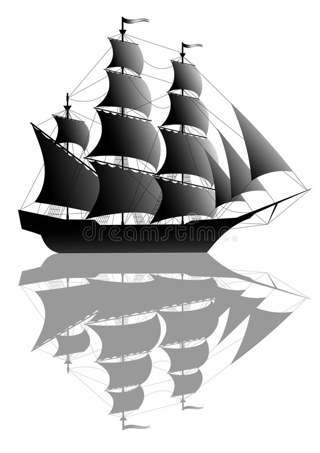 Black ship. Black beautiful old ship isolated on white. Additional vector format in EPS (v. 8