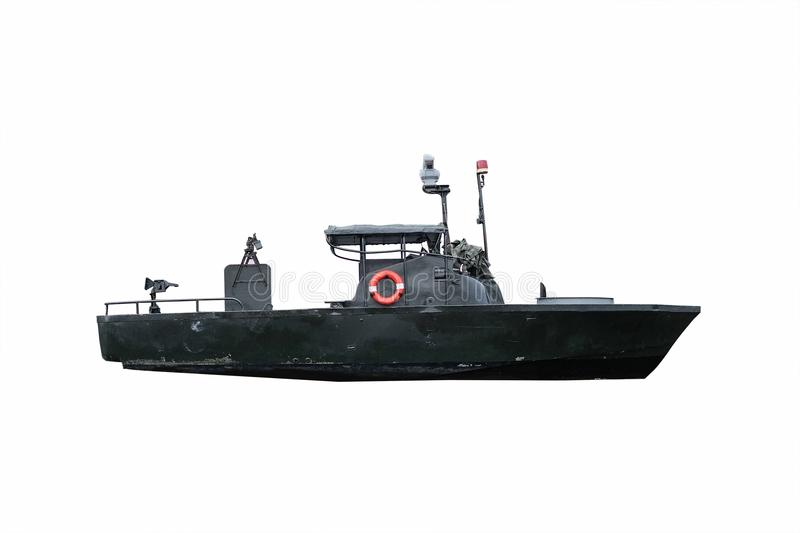 Black ship isolated on white background. With clipping path stock photography