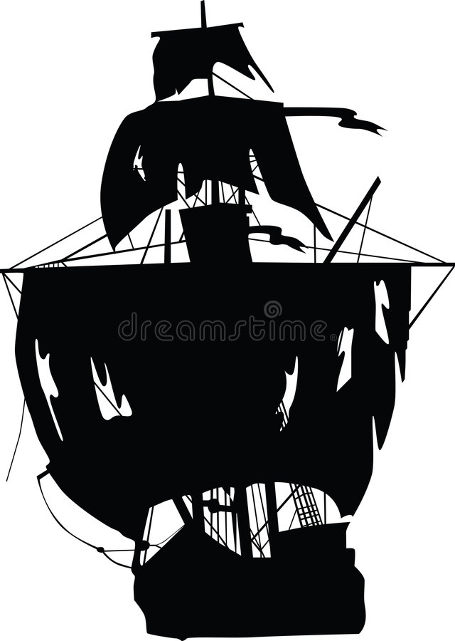 Black ship of pirates royalty free stock photography