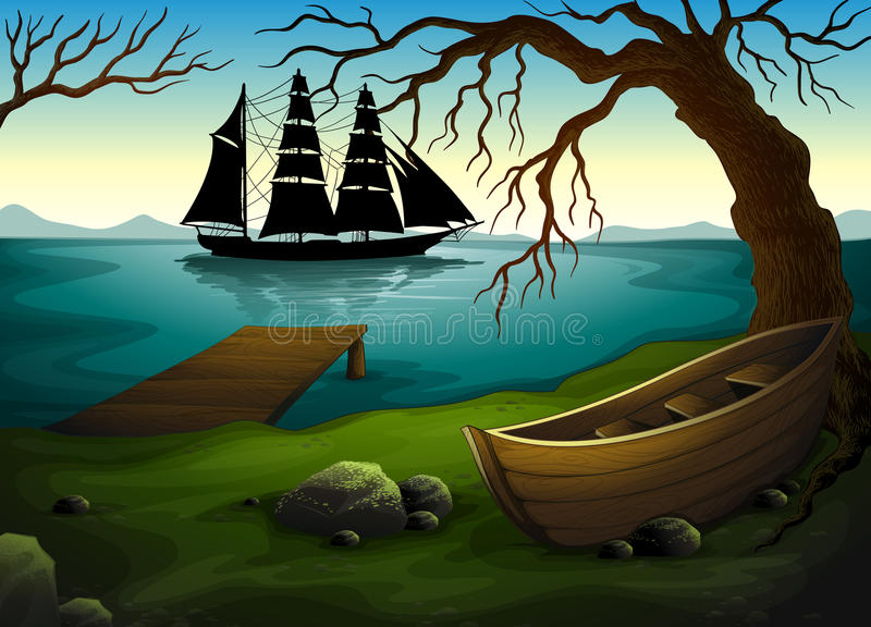 A black ship at the sea across the boat under the tree stock illustration
