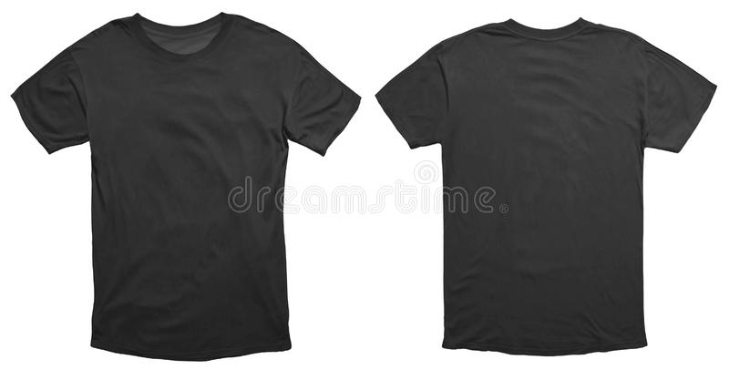 Black Shirt Design Template. Blank black shirt mock up template, front and back view, isolated on white, plain t-shirt mockup. Tee sweater sweatshirt design stock photo