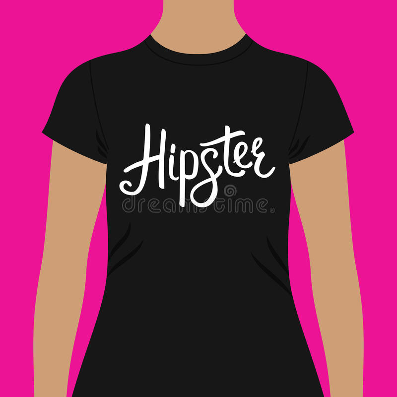 Black Shirt with Hipster Text Print on the Chest stock illustration
