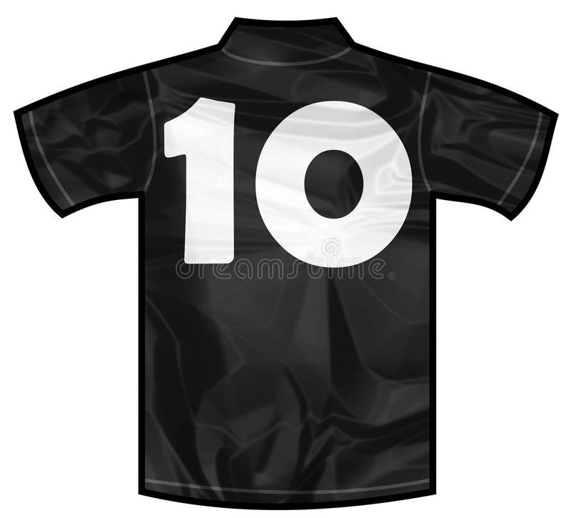 Black shirt ten. Number 10 ten Black sport shirt as a soccer,hockey,basket,rugby, baseball, volley or football team t-shirt. For the goalkeeper or the referee or royalty free illustration