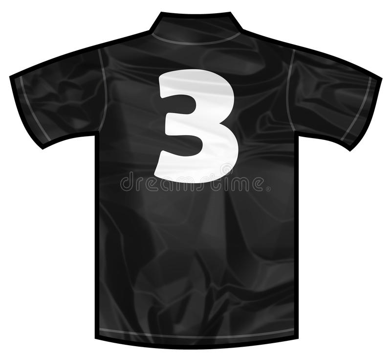 Black shirt three. Number 3 three Black sport shirt as a soccer,hockey,basket,rugby, baseball, volley or football team t-shirt. For the goalkeeper or the referee vector illustration