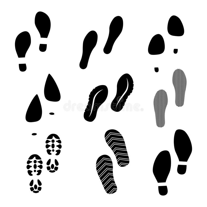 Black shoe print stock photo