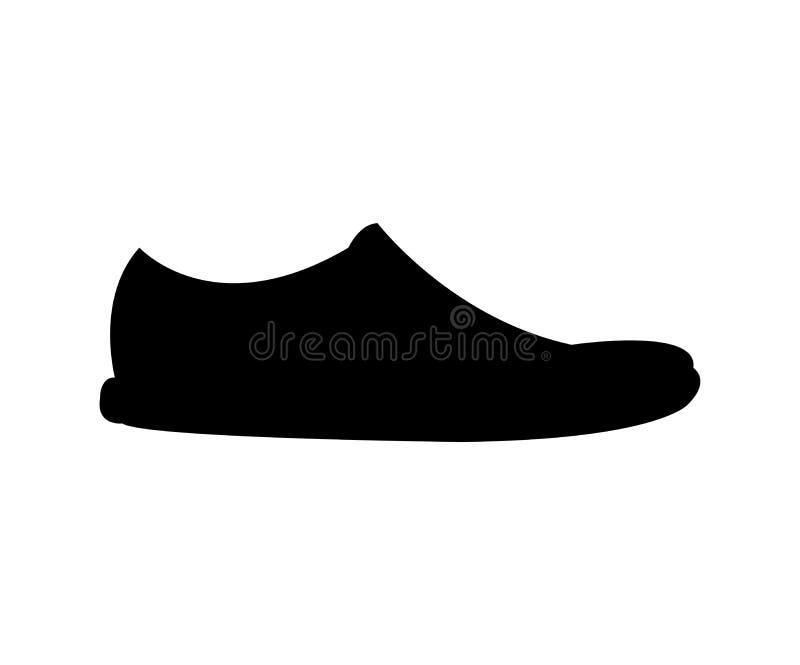 Black shoe silhouette on white vector illustration