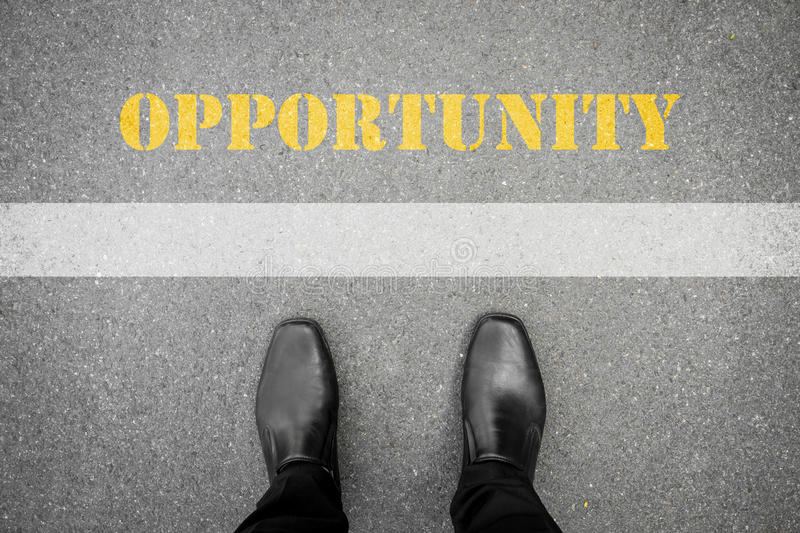 Black shoes standing in front of opportunity stock images