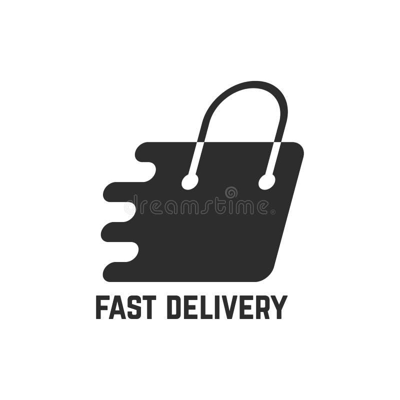 Black shopping bag like fast delivery stock illustration