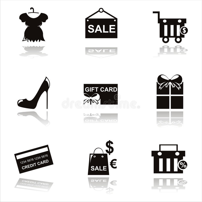 Download Black Shopping Icons Stock Photo - Image: 21434940