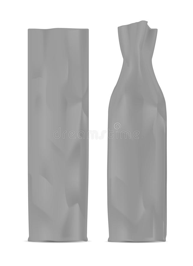Black shopping paper bag. Packaging for bottle and other products stock illustration