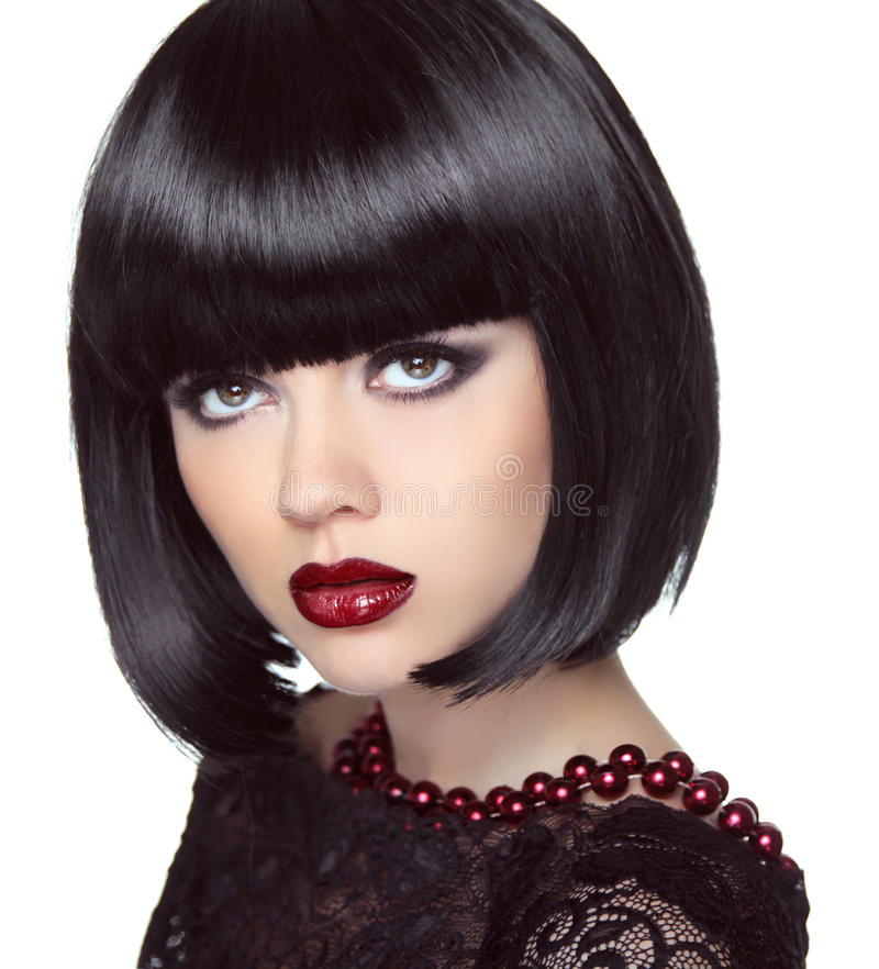 Black Short Bob Hairstyle Fashion Brunette Girl Model