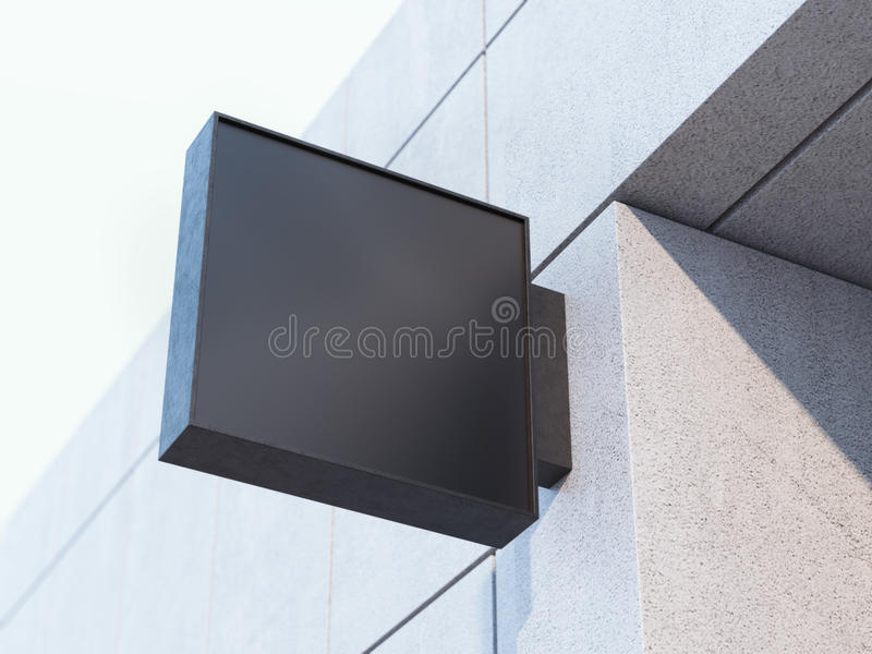 Black signboard on the office building. 3d rendering. Black square signboard on the office building. 3d rendering royalty free stock image