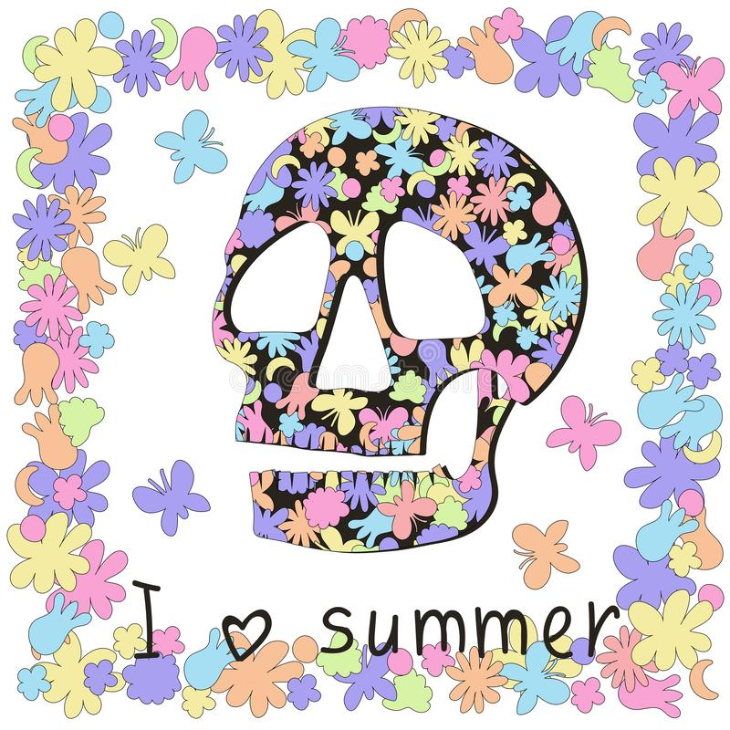 `I love summer` says Skull and sadness about the last summer. stock illustration