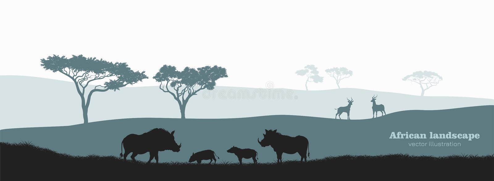 Black silhouette of african boar. Scenery with desert warthog family. Landscape with wild african animals royalty free illustration