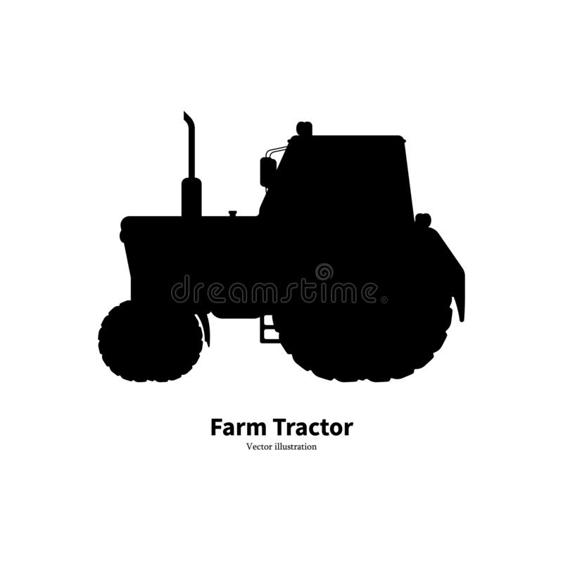 Black silhouette agricultural farm tractor. Vector illustration isolated on white background. Tractor side view, logo icon vector illustration