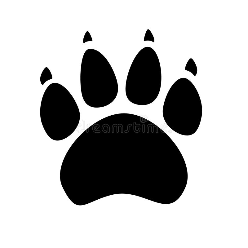 Black silhouette of animal footprints on white background. Cats and dogs paw icon. stock illustration