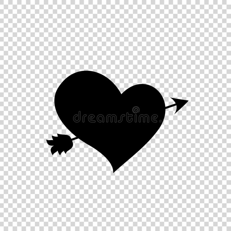 Black silhouette of arrow through heart on transparent background royalty free illustration