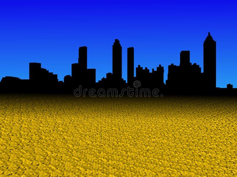 Atlanta skyline with dollar coins foreground illustration stock illustration