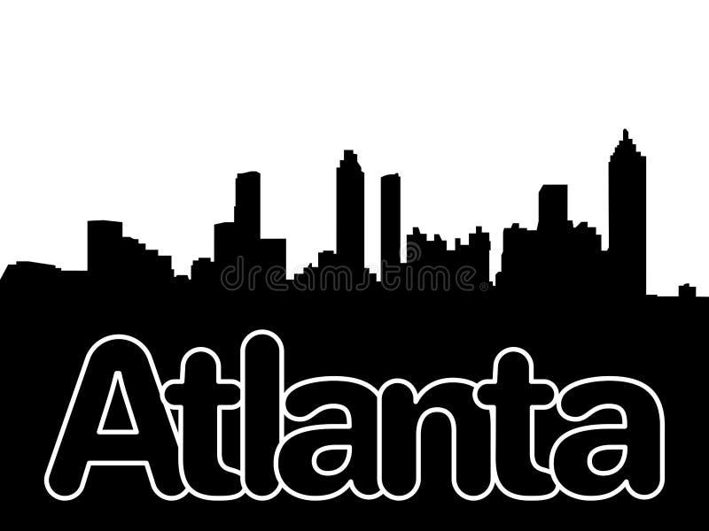 Atlanta skyline with overlapping text illustration vector illustration