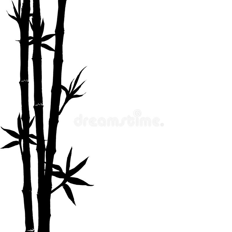 Black silhouette of bamboo plants on white background vector illustration