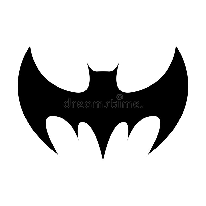 Black silhouette of bat isolated on white background. Halloween decorative element. Vector illustration for any design.  vector illustration