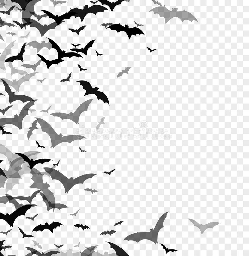 Black silhouette of bats isolated on transparent background. Halloween traditional design element. Vector illustration royalty free illustration