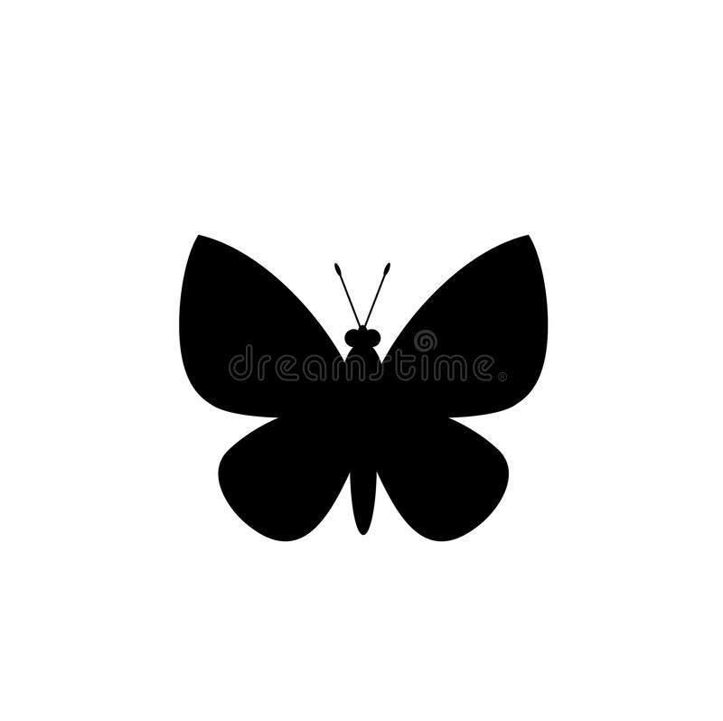 Black silhouette of butterfly isolated on white background. Vector illustration, icon, sign, symbol, logo, label, template for design or tattoo stock illustration